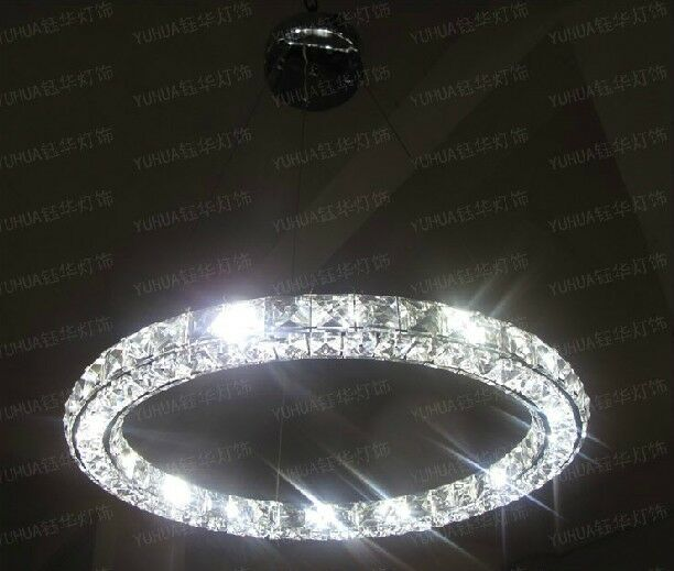 New Luxury Modern Led Round Crystal Pendant Lamp Ring