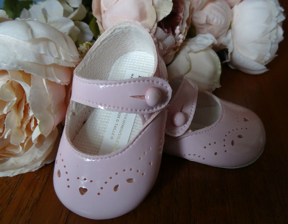 Baby Girl PINK Patent Mary Janes Pram Shoes Christening