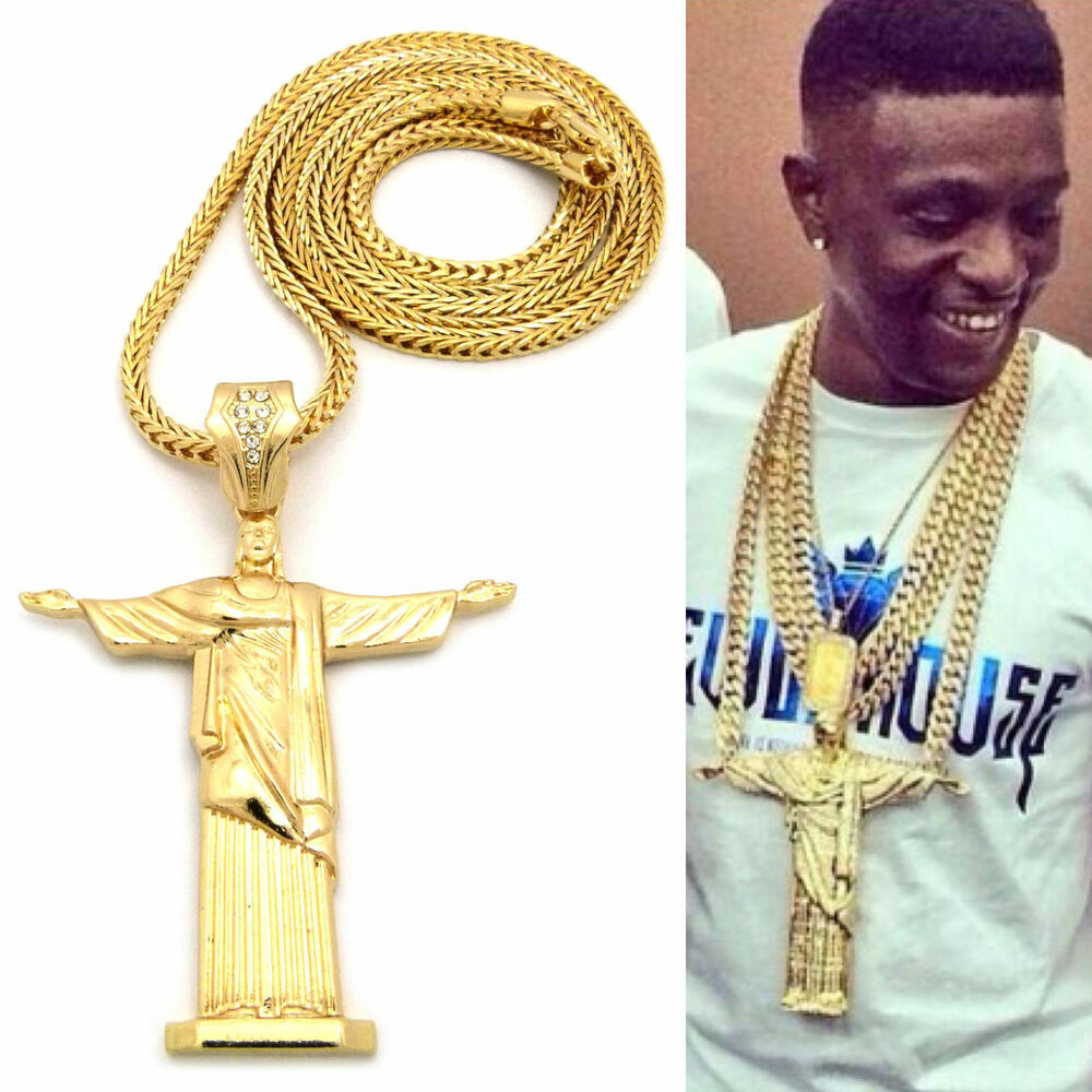 MENS HIP HOP RAPPER STYLE LARGE CROSS THE REDEEMER PENDANT ...