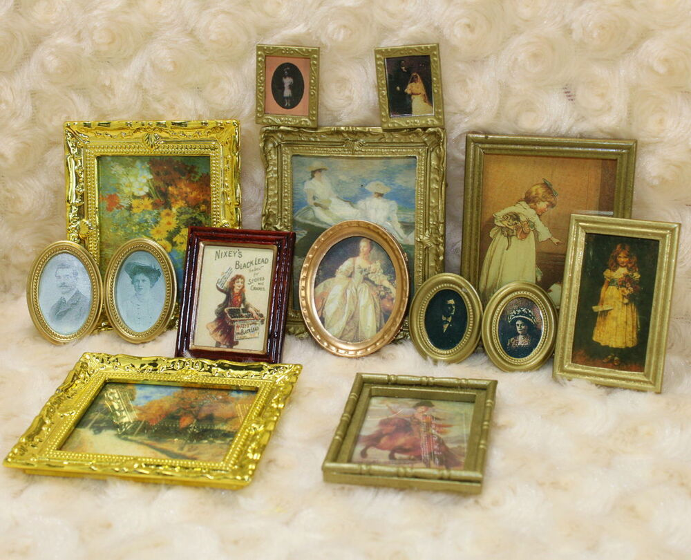 Lot 3pcs dollhouse miniature framed wall paintings home for House decoration stuff