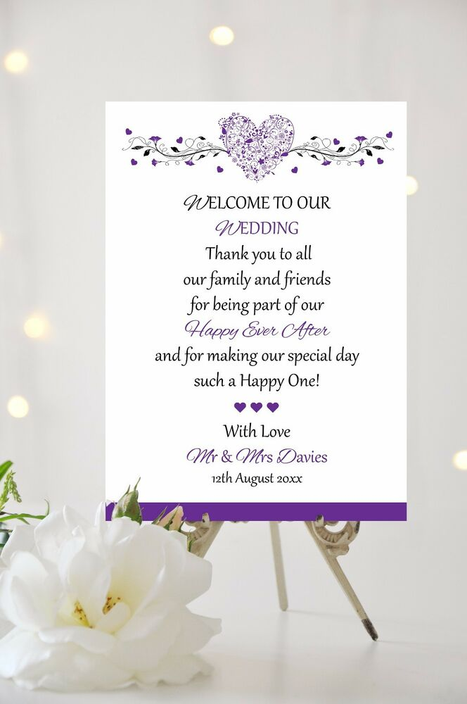 Wedding Welcome Thank You Message Sign Hearts Personalised