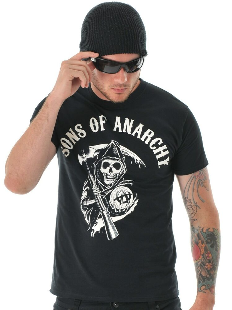 Sons of anarchy t shirt black reaper shirt soa big tall for Size 5x mens dress shirts
