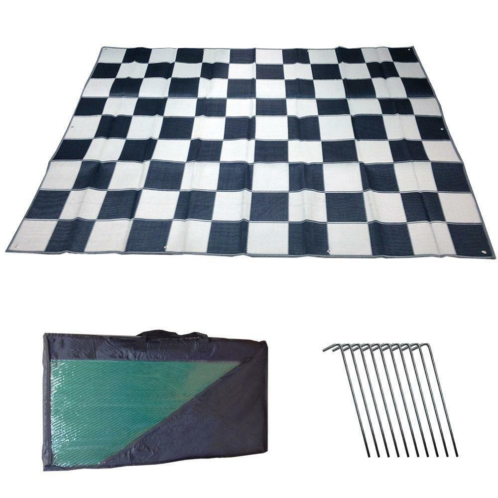 rv patio awning mat outdoor 9x12 black silver checkered. Black Bedroom Furniture Sets. Home Design Ideas