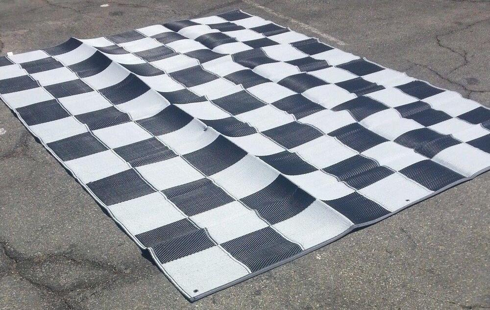 Rv Patio Awning Mat Reversible Outdoor Rug 9x12 Black