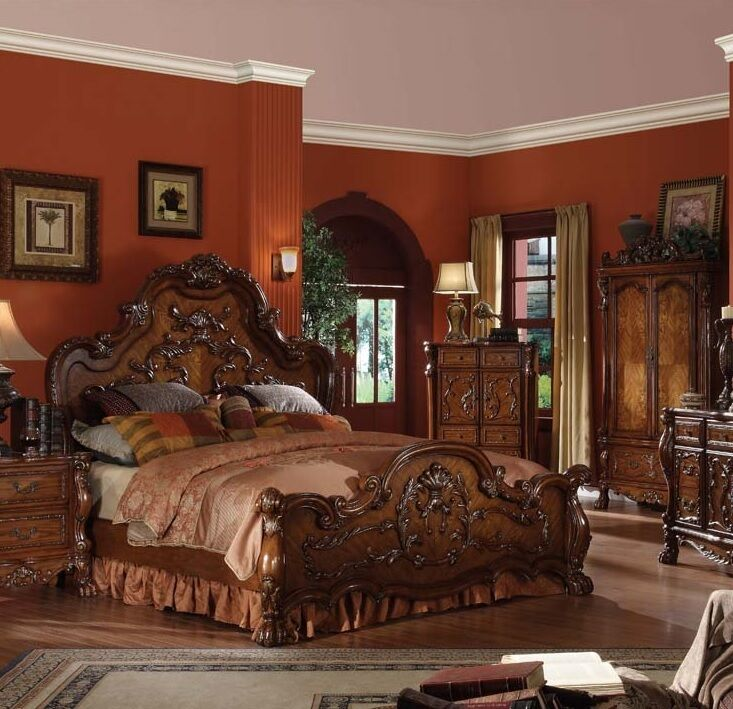 Formal Traditional Queen King Antique Style Dresden Bedroom Cherry Bed Furniture Ebay