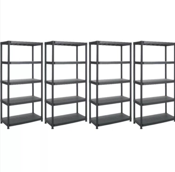 5 tier x 4 black racking shelving plastic shelves rack. Black Bedroom Furniture Sets. Home Design Ideas