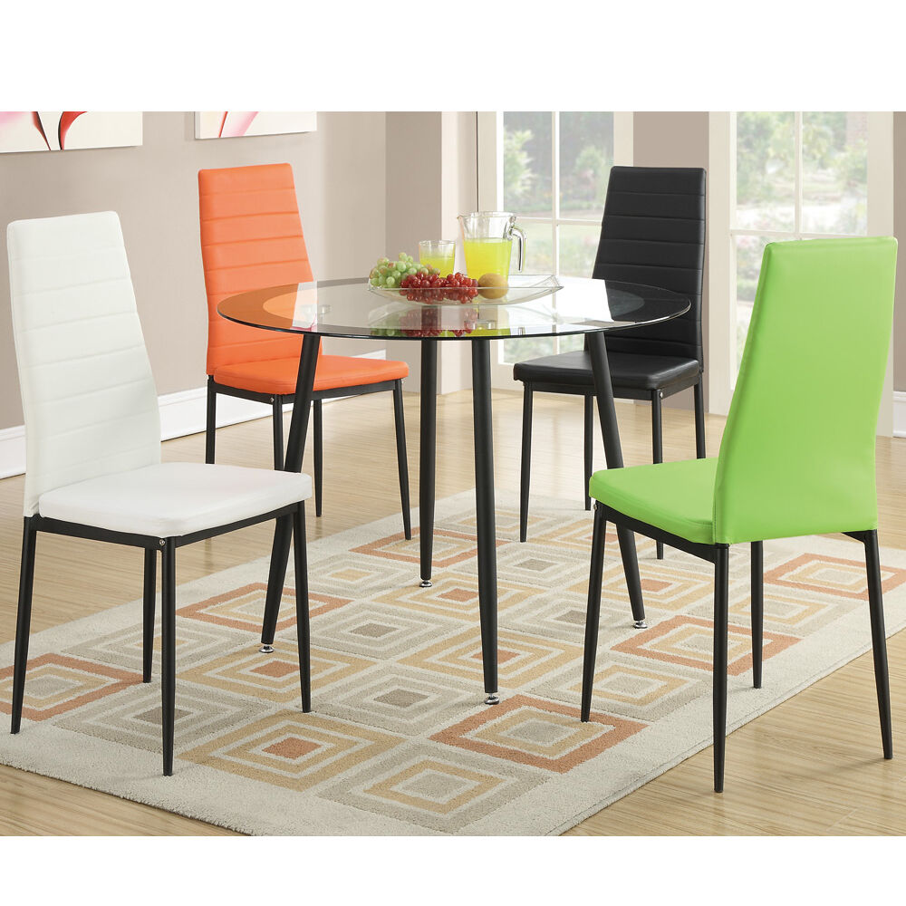 5 PC 8MM Tempered Round Glass Top Dining Table Chairs Set