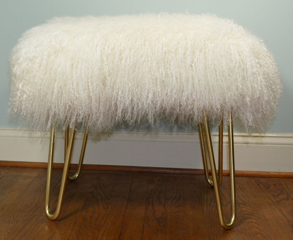 Real Natural White Mongolian Lamb Fur Bench Tibetan Lamb