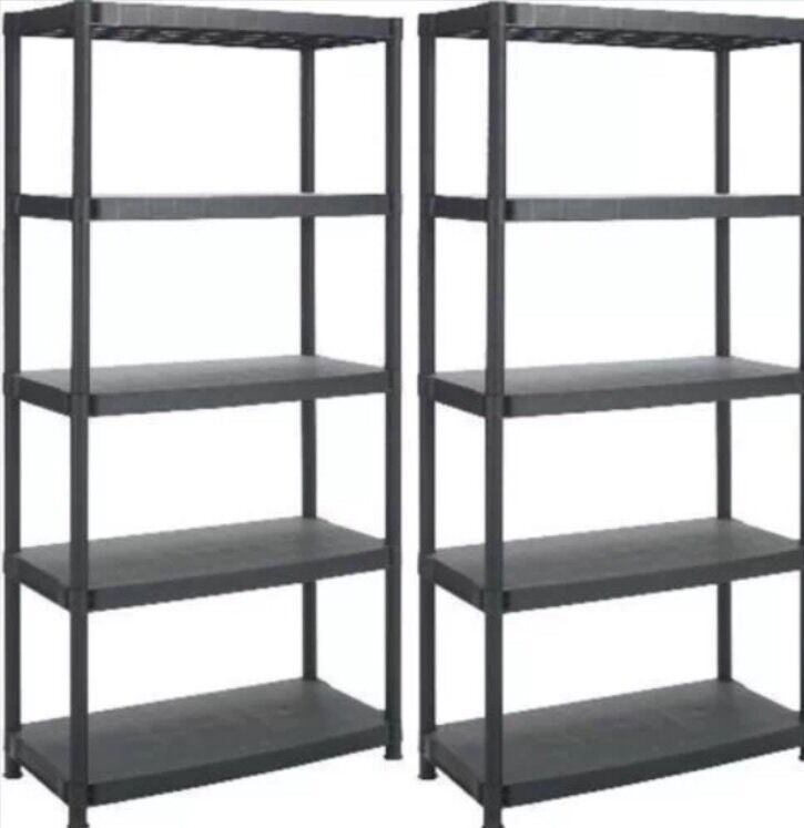 5 Tier X 2 Black Racking Shelving Plastic Shelves Rack