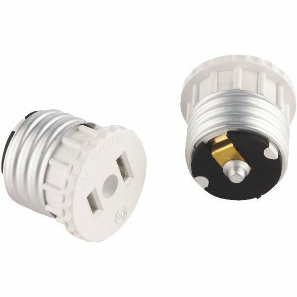 (2 PACK) WHITE LIGHT SOCKET OUTLET ADAPTER 2 WIRE
