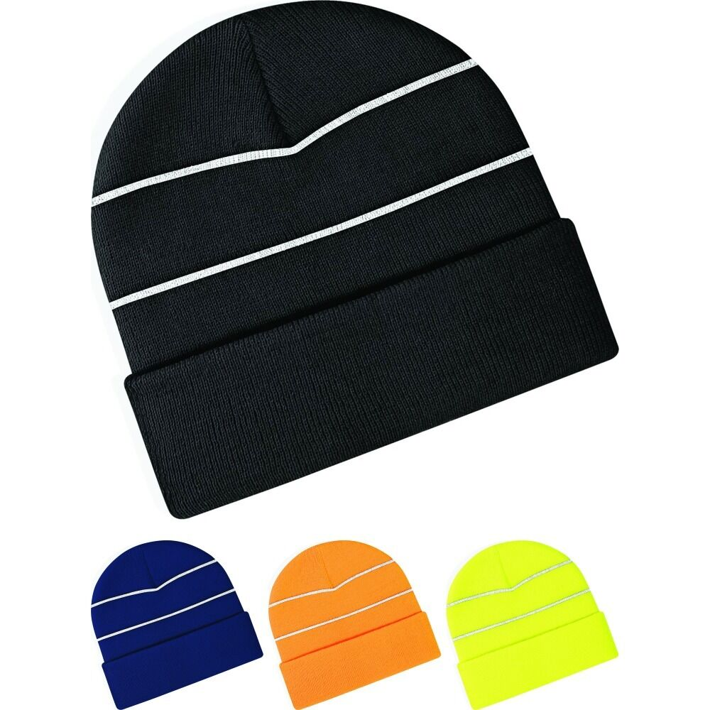 Details about Adult Fluorescent Enhanced High Viz Neon Bright Knitted  Thermal Beanie Hat fd26afd6089