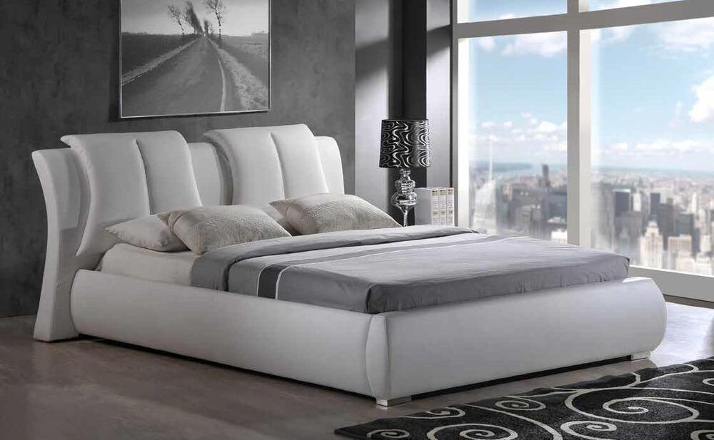 Artur Queen Size 8269 W Modern Style Leather White