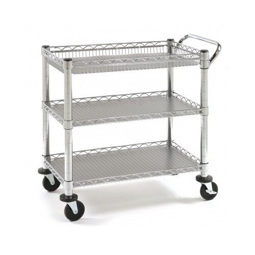 Industrial Rolling Kitchen Cart: Mobile Heavy Duty Rolling Utility Cart Tray Kitchen Garage