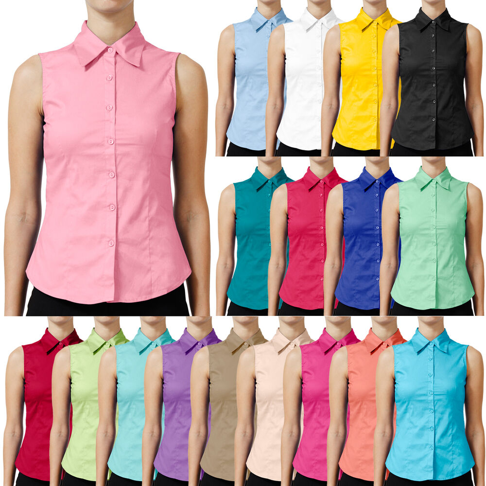 NE PEOPLE Womens Tailored Sleeveless Full Button Down ...