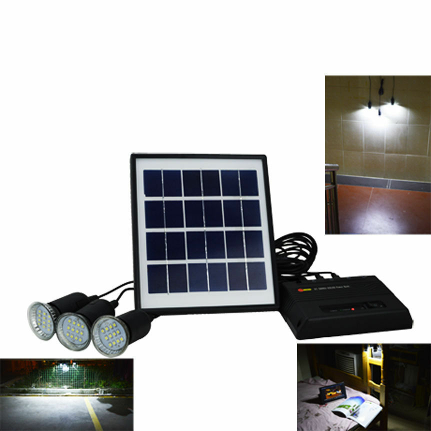 outdoor solar power system power bank with 3x bulbs for. Black Bedroom Furniture Sets. Home Design Ideas