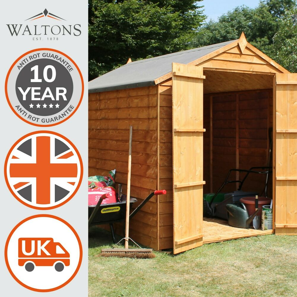 8x6 overlap wooden garden shed double door apex roof for Garden shed tab