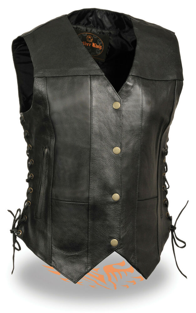 Womens black leather motorcycle vest braided side lace for Women s fishing vest