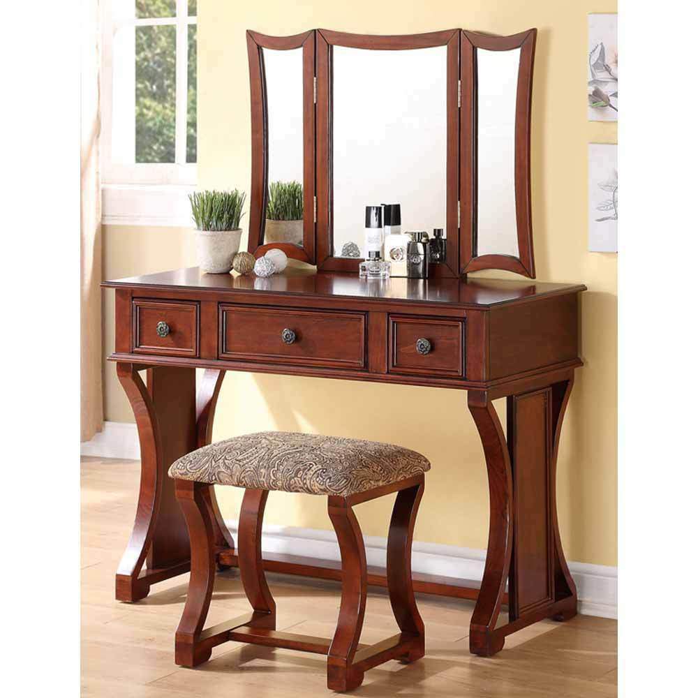 Tri Folding Mirror Curved Lines Vanity Makeup Table Bench