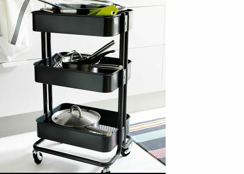 ikea raskog kitchen trolley black kitchen island storage bathroom new ebay. Black Bedroom Furniture Sets. Home Design Ideas