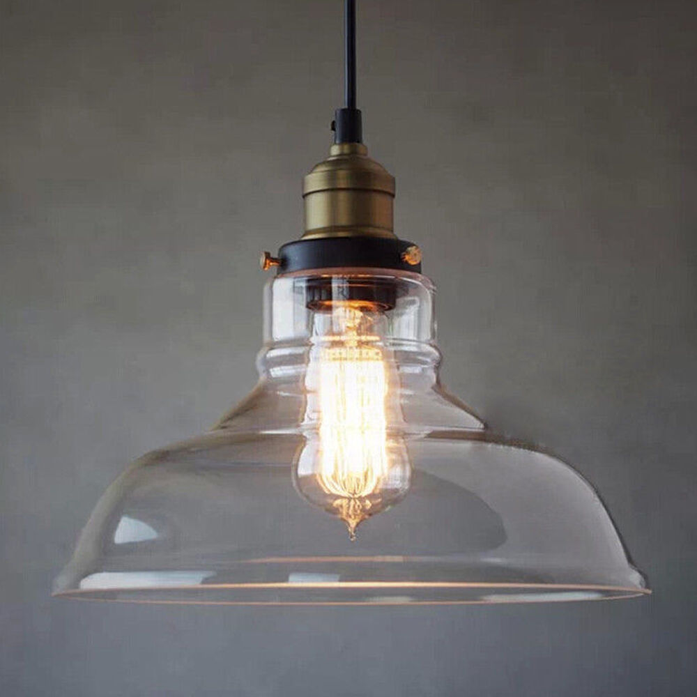 Industrial ceiling light glass lamp shade pendant for Industrial bulb pendant