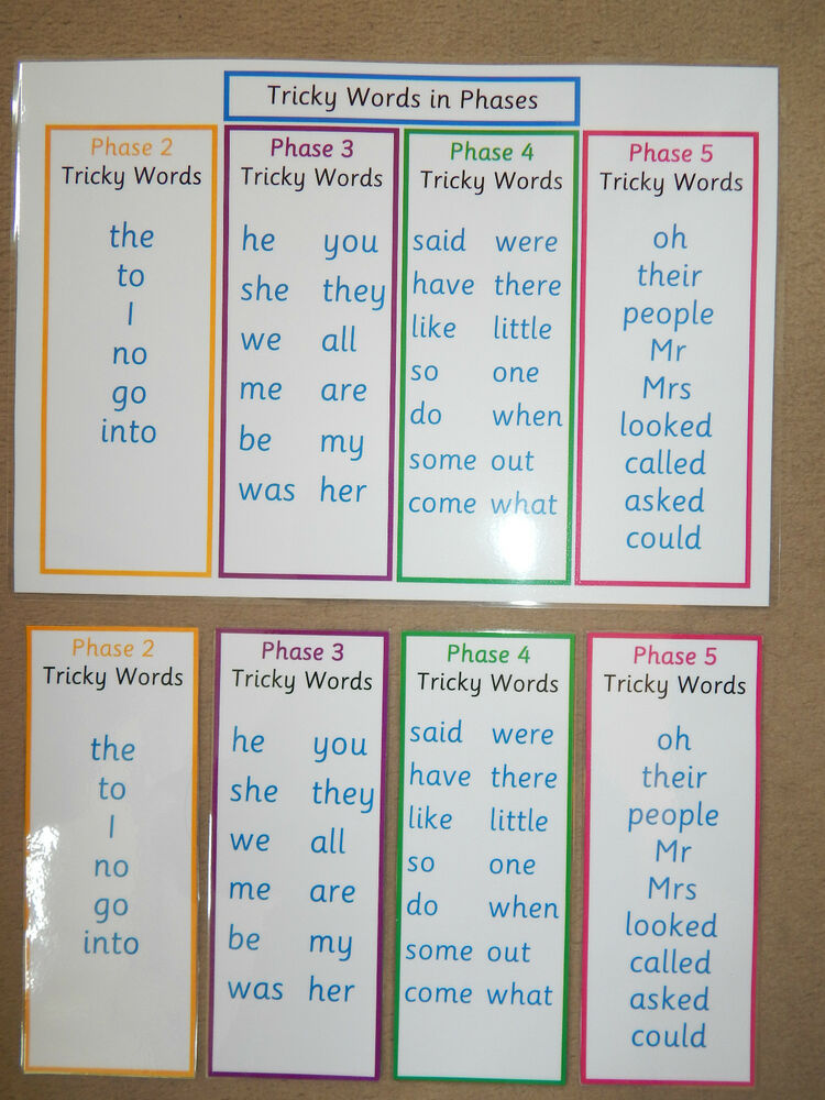 Tricky Words In Phases Word Mat Poster Or Bookmarks