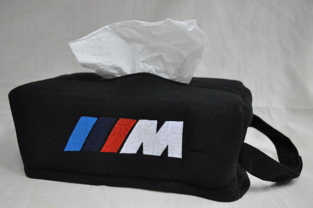 Black Car Seat Tissue Box Cover Holder Case W Embroidery