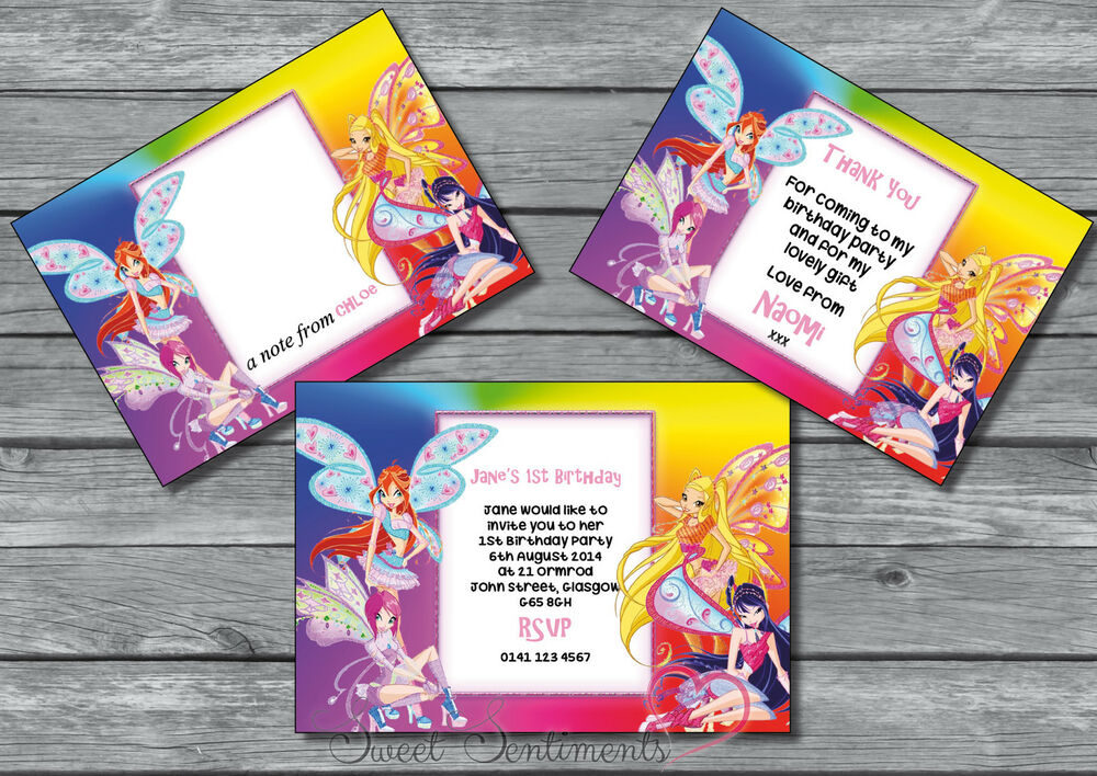 Winx Club Personalised Birthday Party Invite / Thank You Card / Note ...
