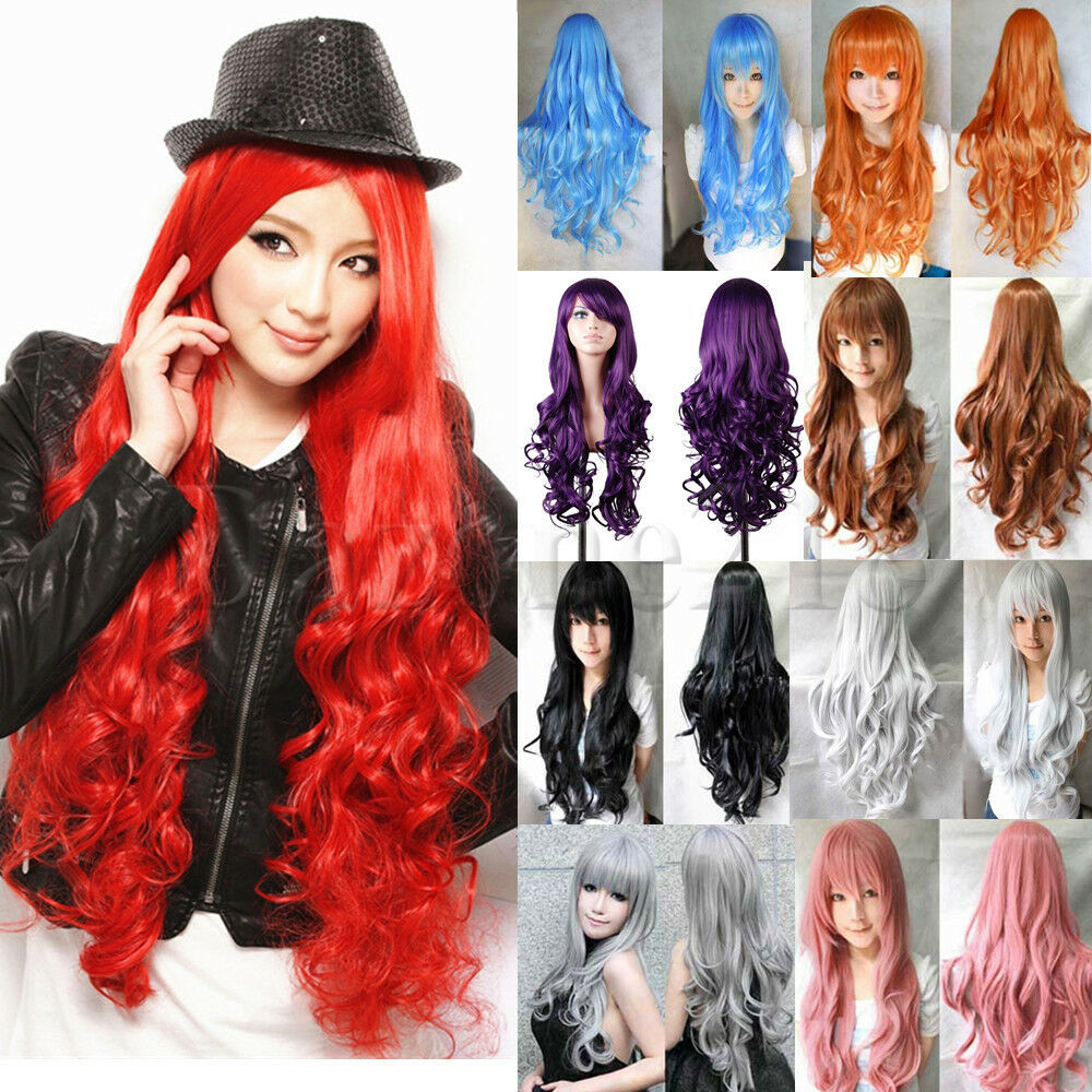 80cm Long Curly Wavy Straight Cosplay Party Wig Full