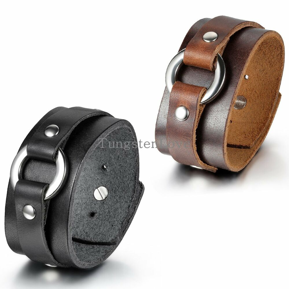 Cuff Bangle Bracelet: New Punk Rock Cool Ring Wide Leather Bracelet Men's Biker