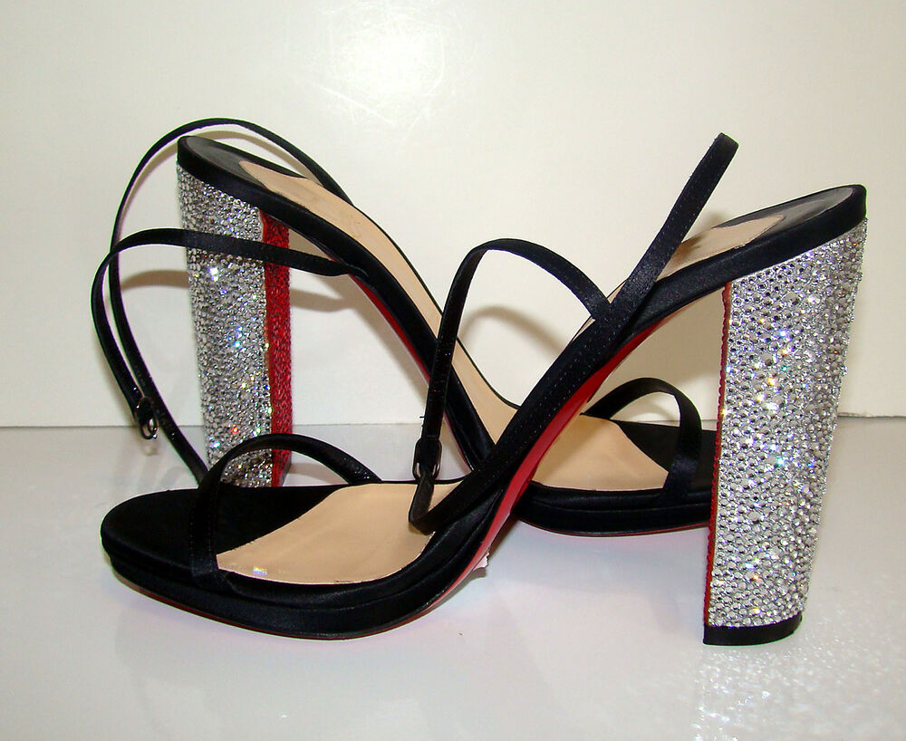 christian louboutin men replica - New CHRISTIAN LOUBOUTIN AU PALACE Black Satin Sandals with Strass ...