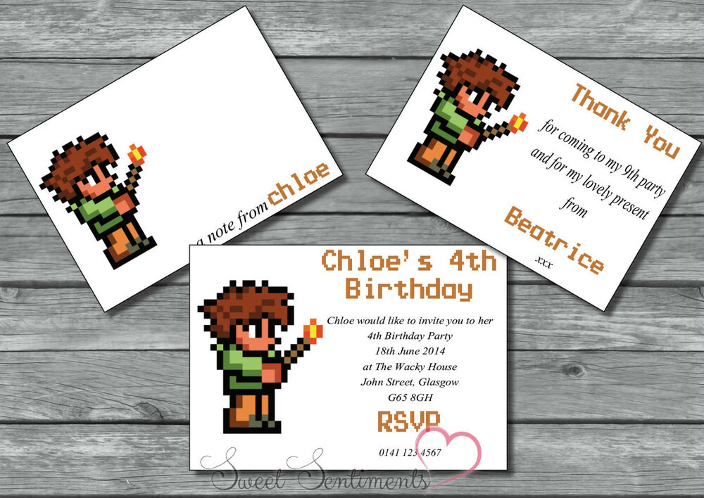 Terraria Personalised Birthday Party Invite /Thank You Card / 12   eBay