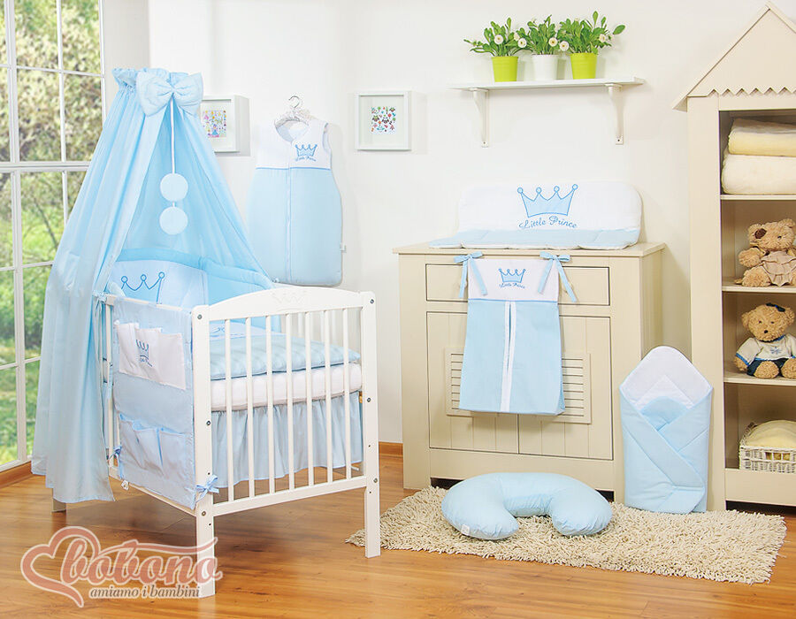 NEW LITTLE PRINCE BABY BLUE BEDDING SET ONLY For COT OR COT BED + CANOPY HOLDER