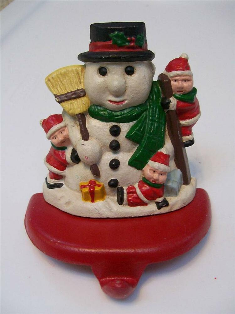 Vintage children making snowman solid cast iron christmas
