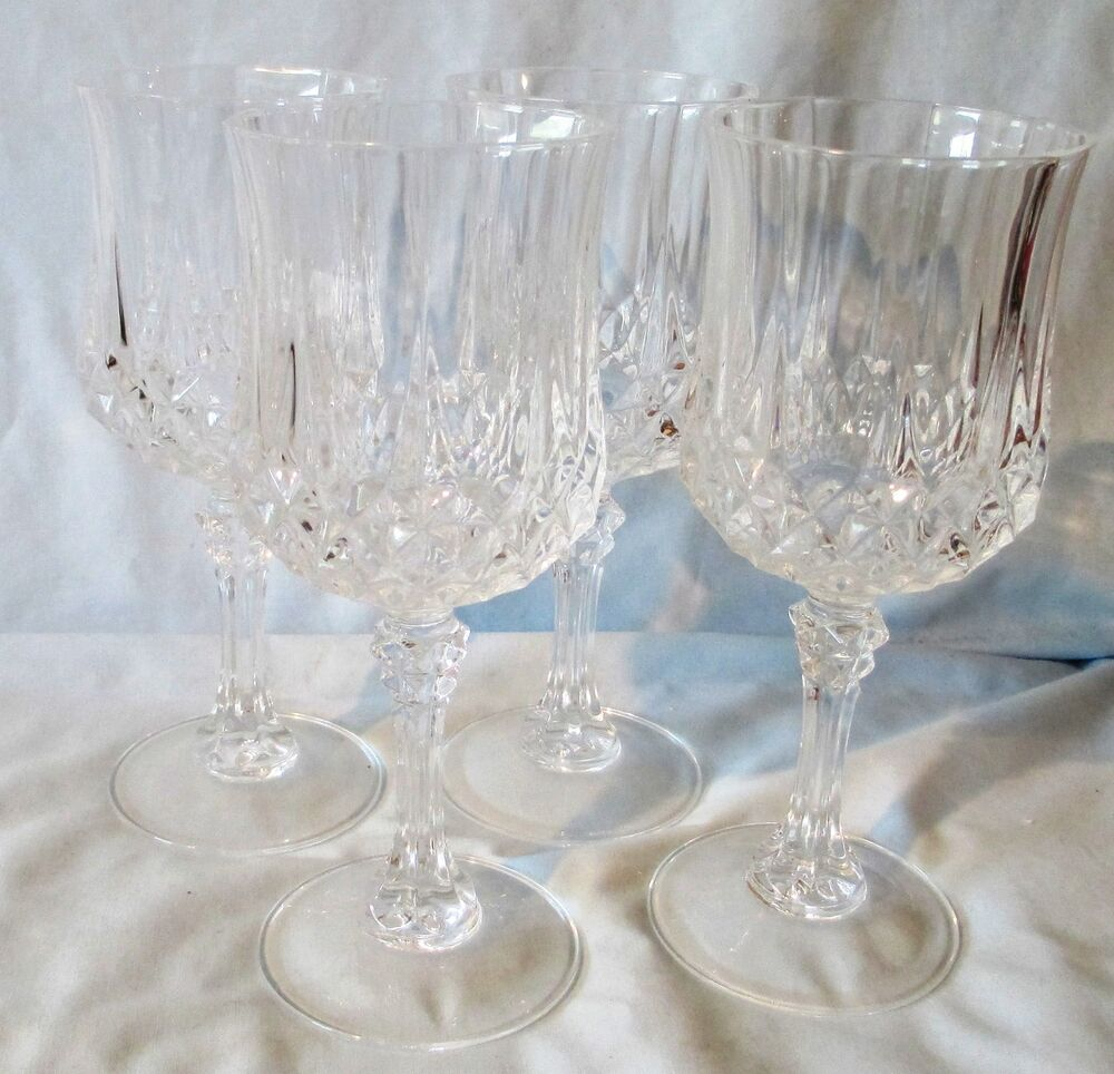 crystal cristal d 39 arques durand longchamp water goblet glasses 7 1 4 set of 4 ebay. Black Bedroom Furniture Sets. Home Design Ideas