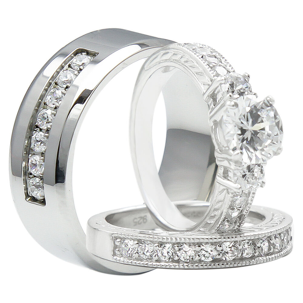 Wedding Ring Sets His And Hers: 3PCS His And Hers Titanium 925 Sterling Silver Wedding