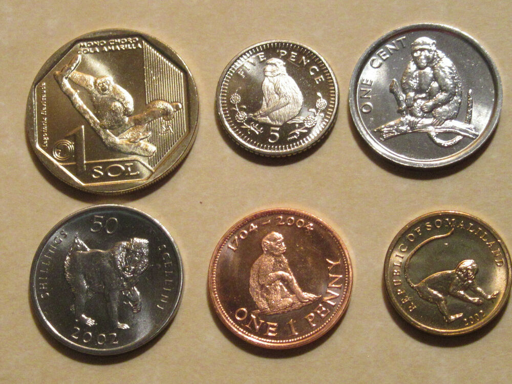 Monkey Coin Set 4 Coins All Are Uncirculated Nice Starter Set Animal Coin Ebay