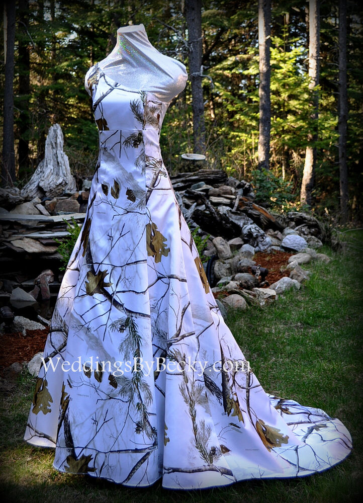 New camo wedding gown realtree or mossy oak satin for Snow camo wedding dresses