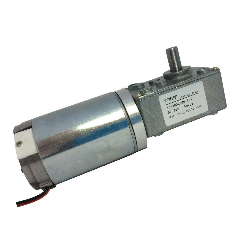 24v 50rpm metal gear dc geared motor reduction turbo worm