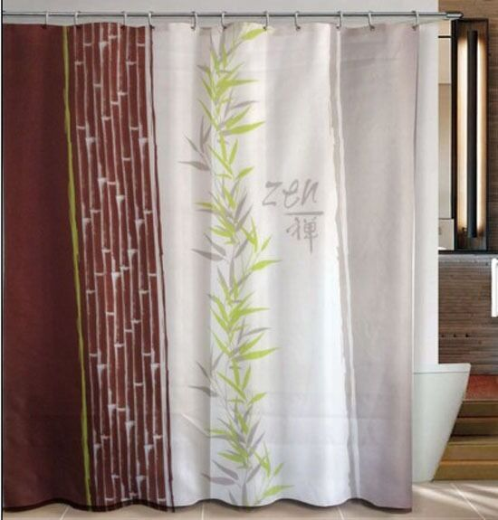 zen of bamboo traditional bathroom fabric shower curtain w 12 hooks