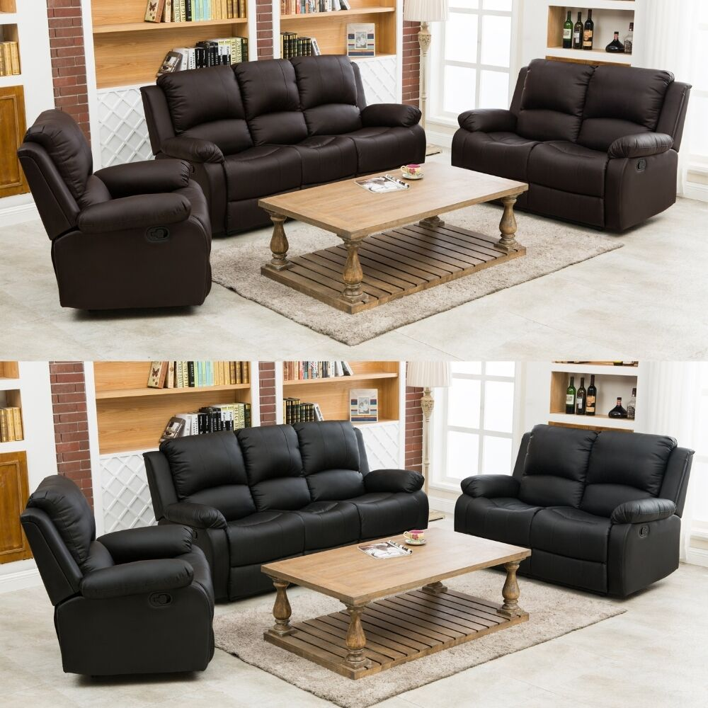 sofa suite arm chair recliners real leather black brown 3 2 1 seater ebay. Black Bedroom Furniture Sets. Home Design Ideas