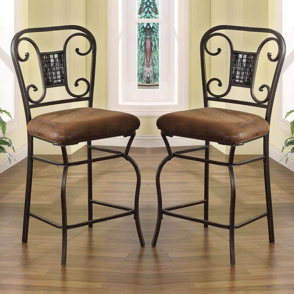 Tavio Set Of 2 Metal 24 Quot H Counter Height Dining Chairs
