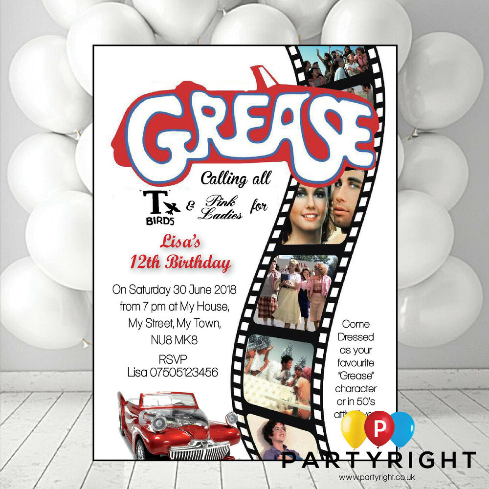 Personalised Grease Retro 80S Adult Birthday Party ...