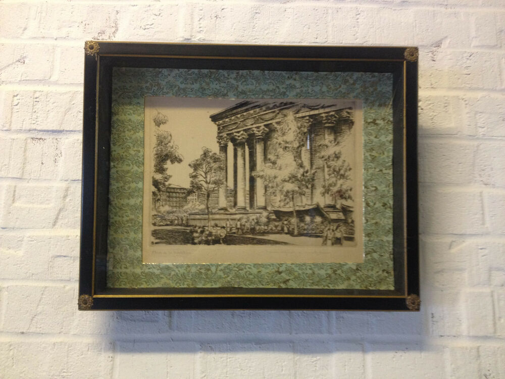 Vintage Signed Marcel Bessay French Etching Print Place De