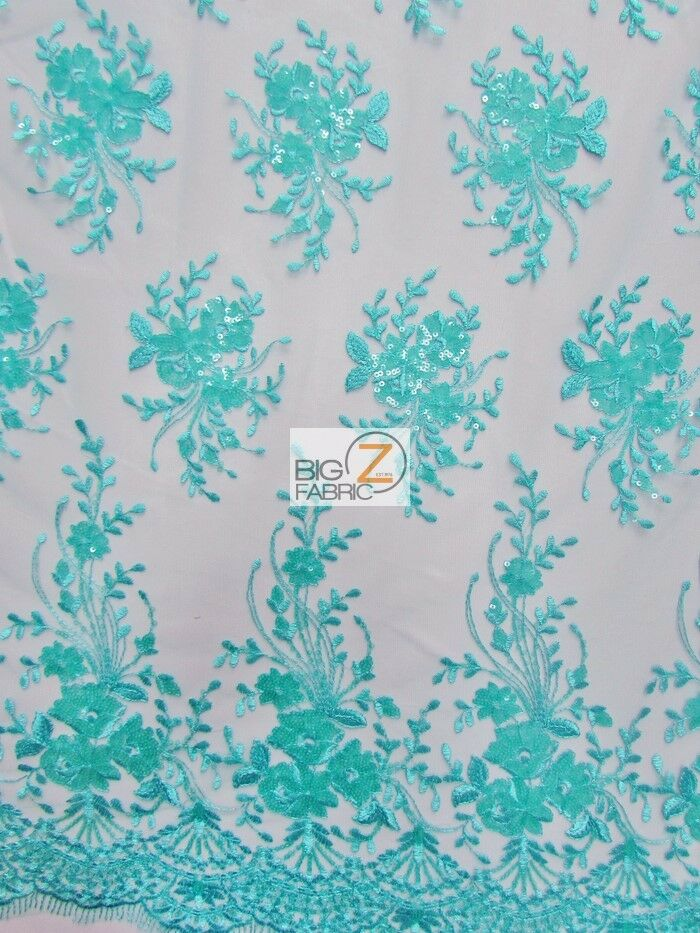 Infamous floral sequins lace dress fabric aqua prom for Wedding dress fabric store