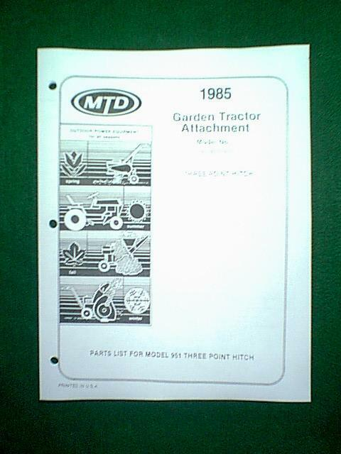 Mtd Tractor 3 Point Hitch Model 951 195951000 Parts Manual