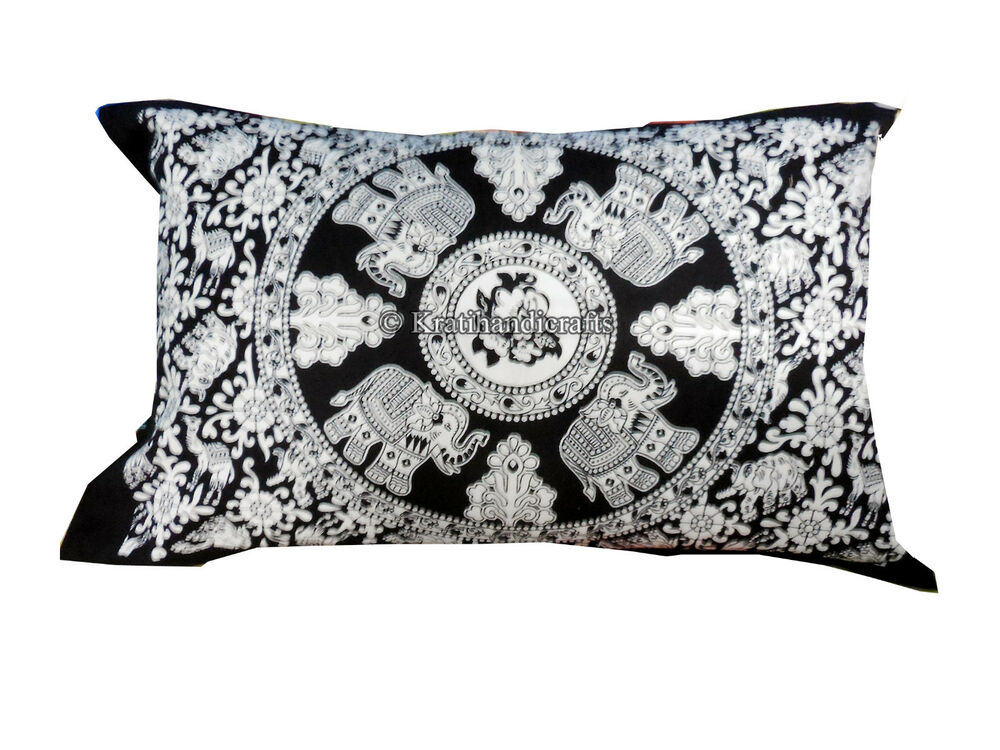 STANDARD 16*24 INCHES BLACK AND WHITE ELEPHANT MANDALA PILLOW THROW PILLOW SHAMS eBay