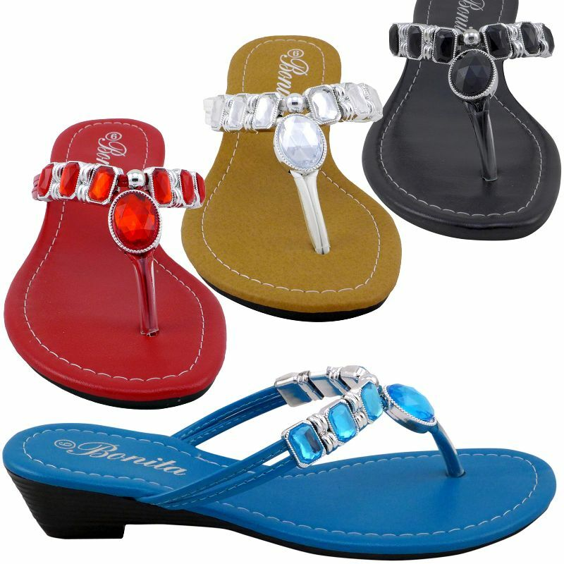 womens sandals multicolor jeweled wedge shoes low heels
