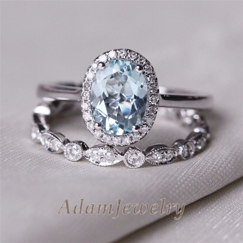 VS 6x8mm Blue Aquamarine Ring 14K White Gold Diamond Band Wedding Ring Sets