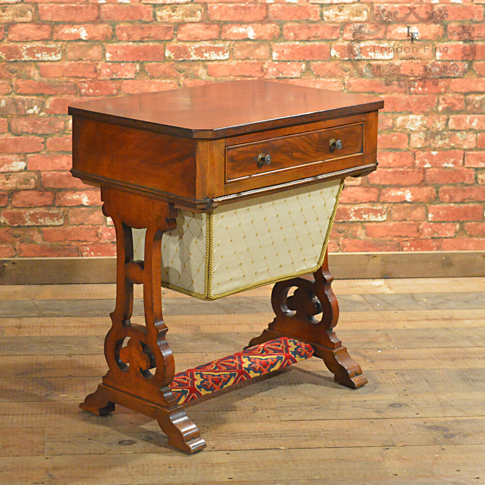 antique sewing table victorian work table english. Black Bedroom Furniture Sets. Home Design Ideas