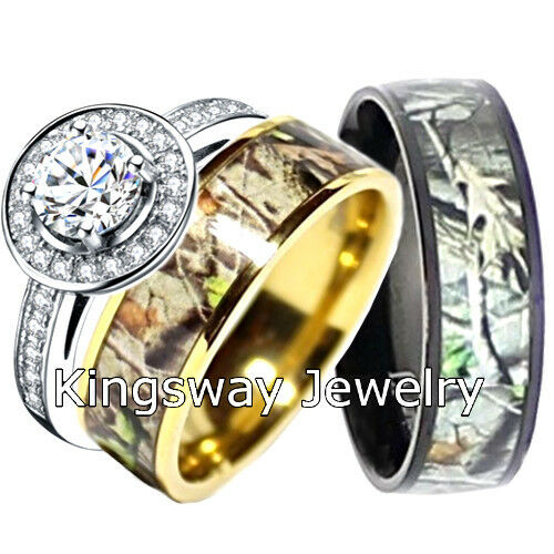 his and hers camo wedding rings his and hers titanium camo 925 sterling silver engagement 4808